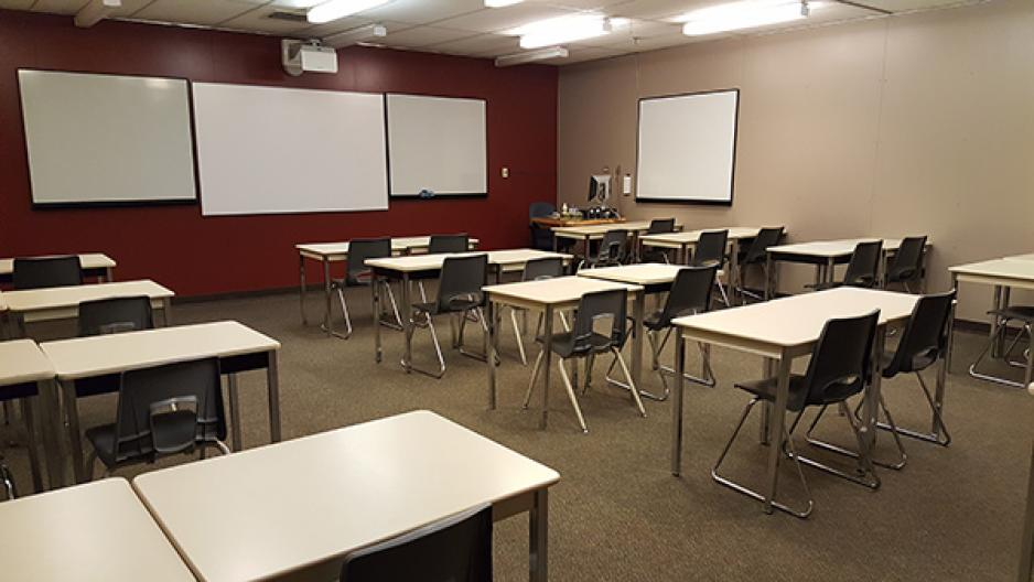A general classroom at the Victoria Avenue East Campus in Brandon, MB.