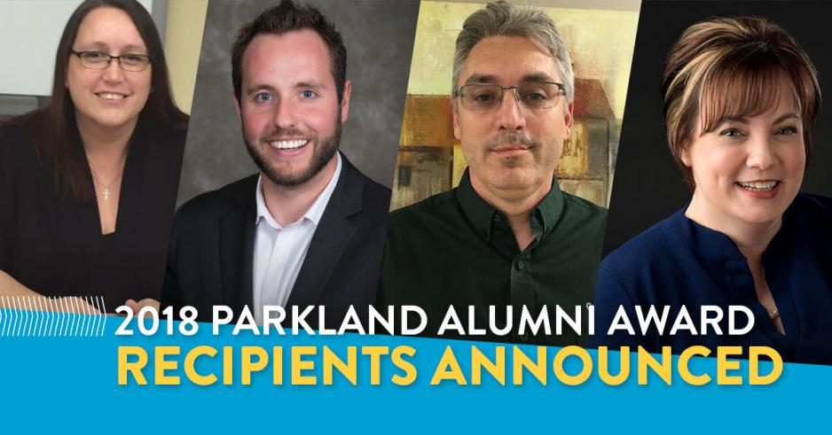 The Parkland Region alumni awards were presented to (from left) Laura Chartrand, Kevin Giesbrecht, David Mansell and Nicole Yunker at the annual Parkland Region Alumni Celebration dinner on April 26, 2018.