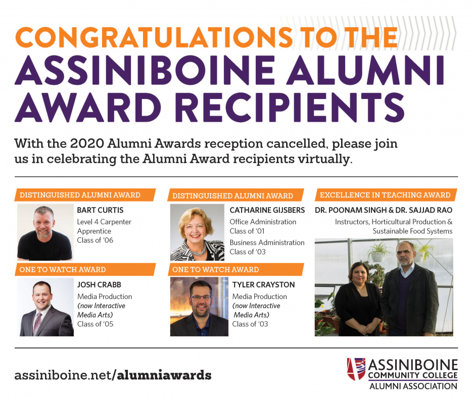 Photo congratulates Alumni Awards recipients, with recipient photos and information: Bart Curtis (Distinguished Alumni), Catharine Gijsbers (Distinguished Alumni), Josh Crabb (One to Watch), Tyler Crayston (One to Watch), Drs. Poonam Singh and Sajjad Rao (Excellence in Education)