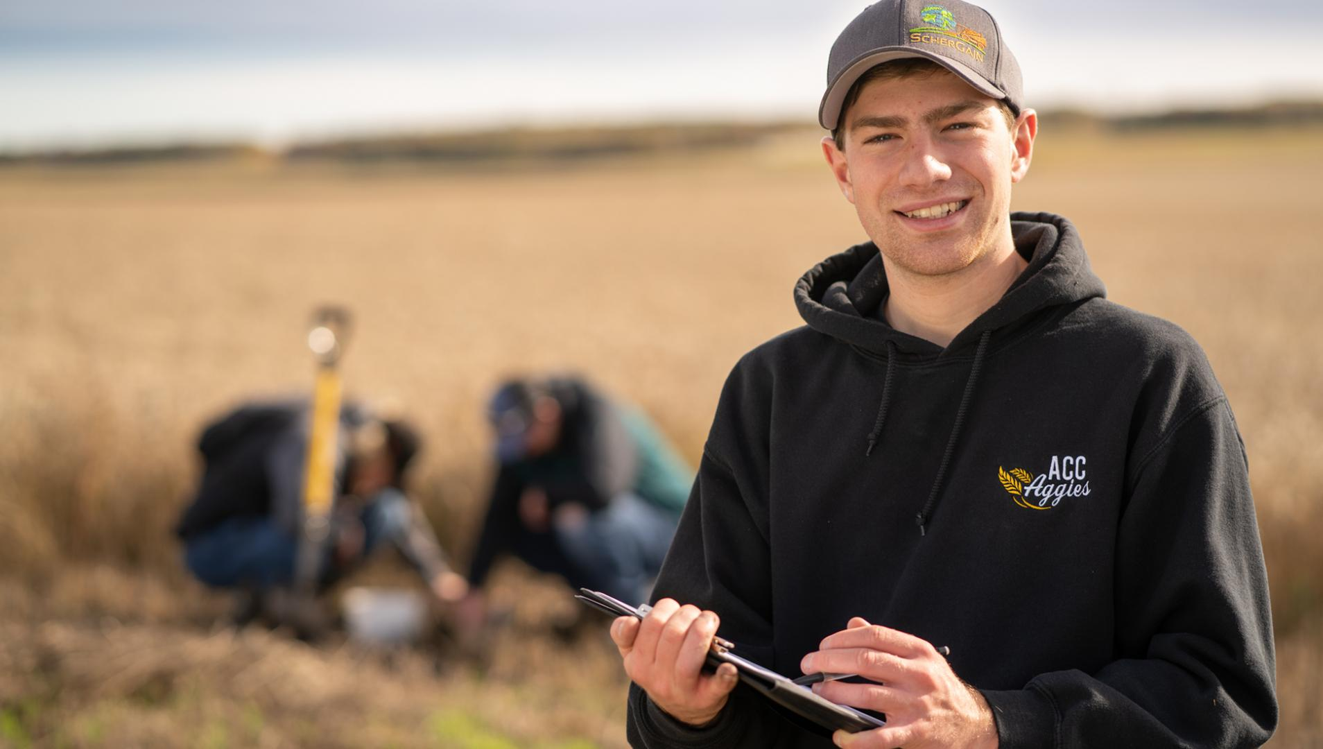 Agribusiness Student in a field