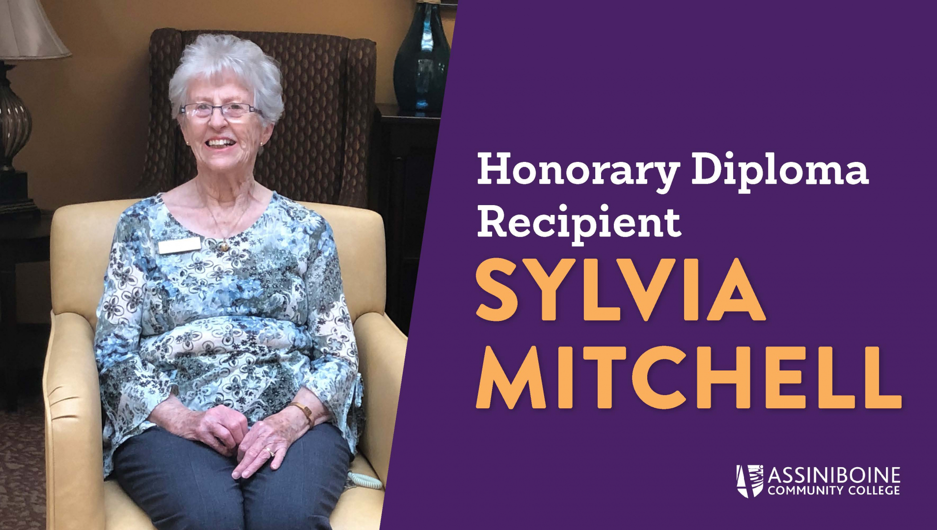 Sylvia Mitchell, Honorary Diploma recipient sits at her home in Riverheights Terrace
