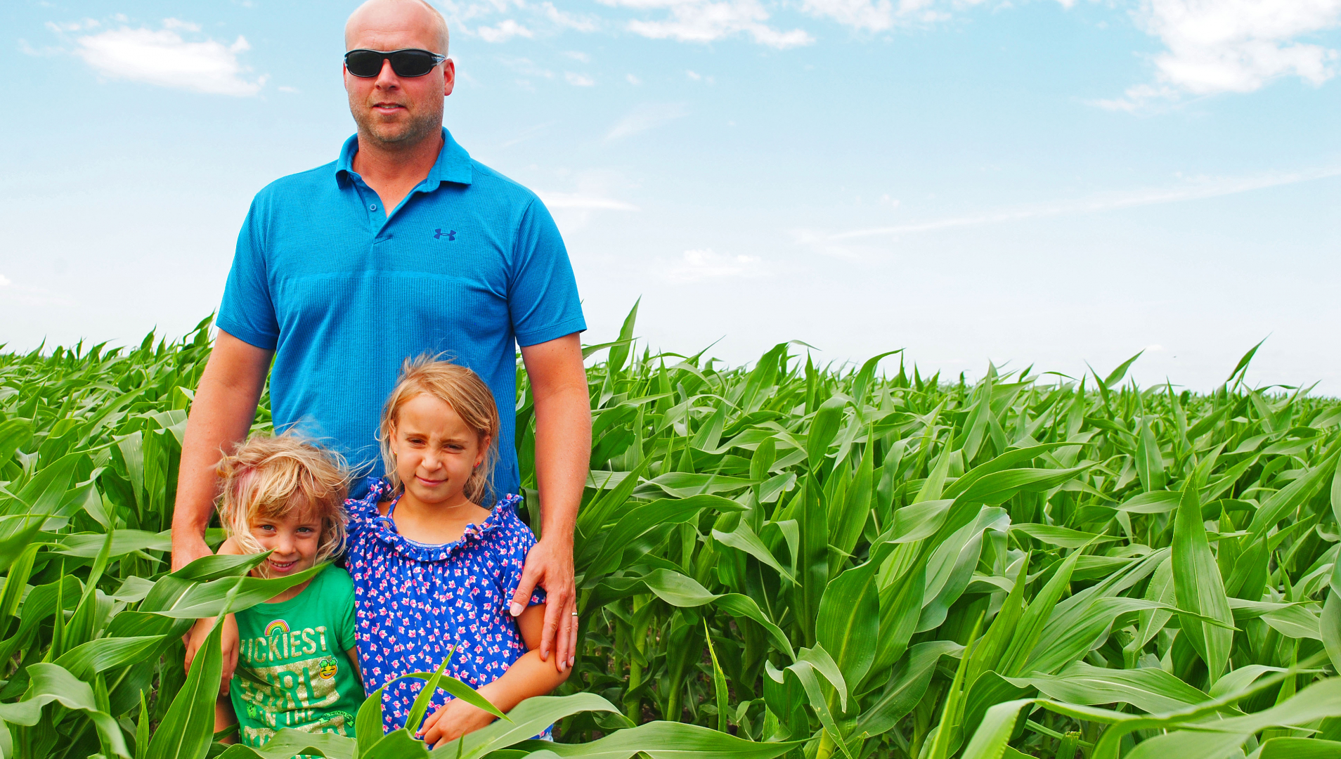 Jamie Hodson with daughters, Demi and Willow, on their farm located northeast of Virden.