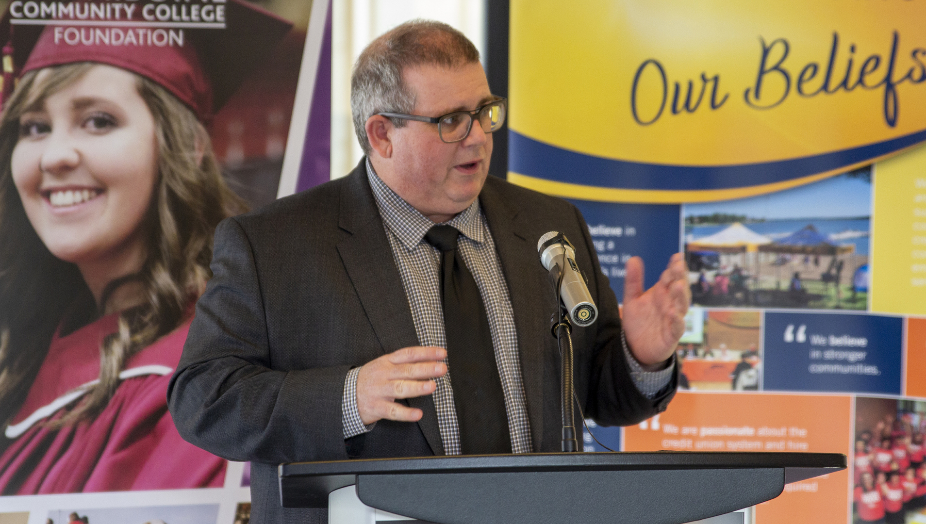 Assiniboine president, Mark Frison introduces Sunrise Credit Union at a donor announcement event