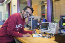 CET student works with wireless communication technology