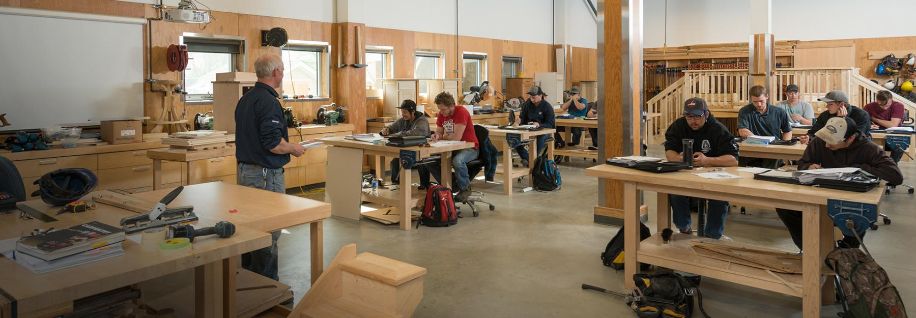 Carpentry Apprenticeship classroom with students and instructor